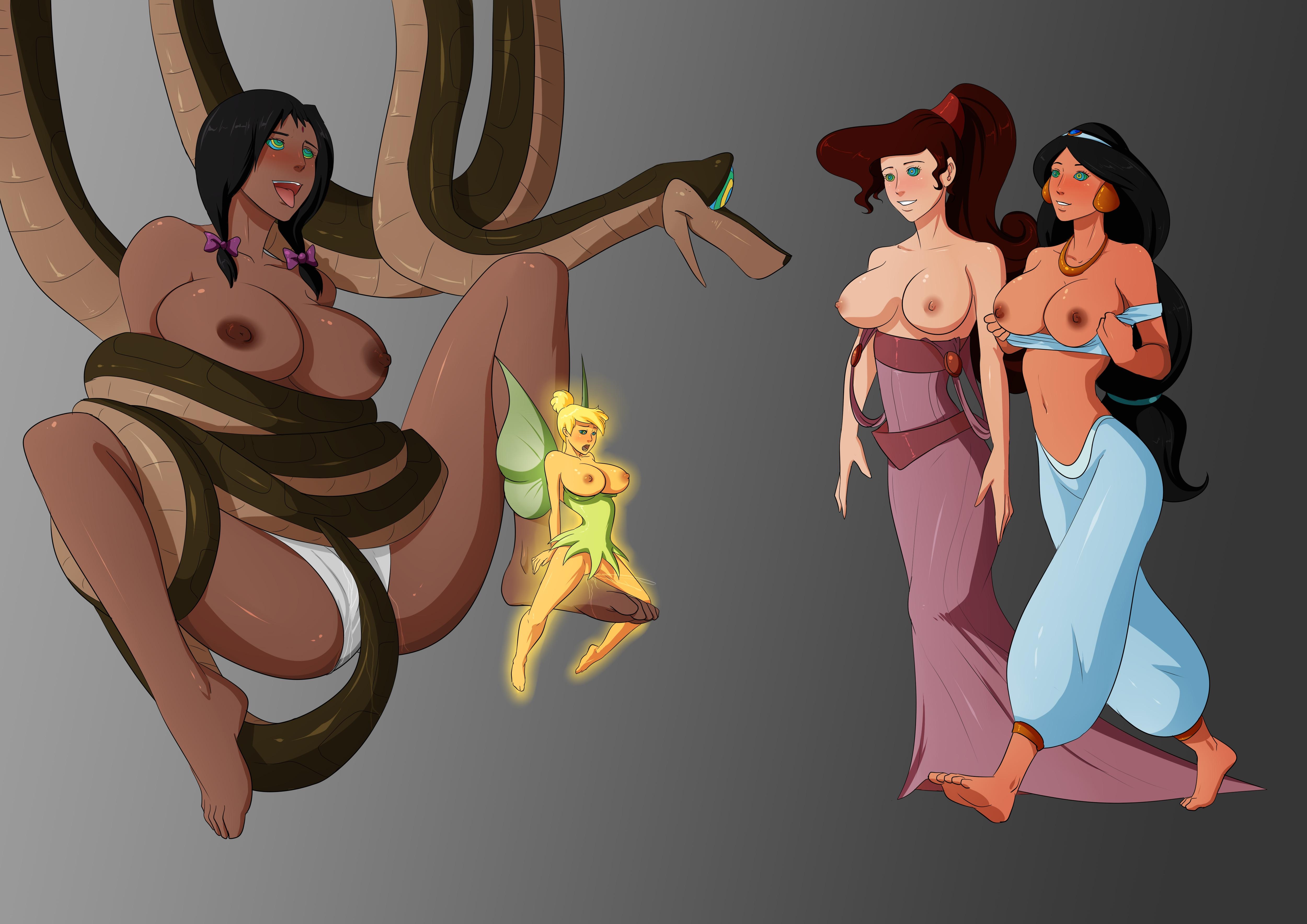 Ariel And Mowgli Porn hercules kaa megara princess jasmine shanti tinker bell